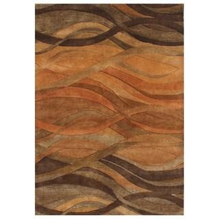 Alliyah Handmade Multi Abstract New Zealand Blend Wool Rug (5' x 8')