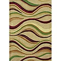 Hand-tufted Geo Stripes Beige Wool Rug (8' x 10')