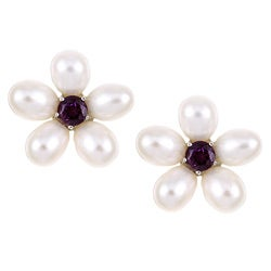 Kabella Sterling Silver Freshwater Pearl and Amethyst Flower Earrings (6.5-7 mm)
