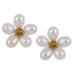 Kabella Silver Freshwater Pearl and Citrine Flower Earrings (6.5-7 mm)