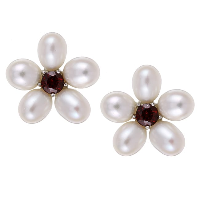 Kabella Sterling Silver Freshwater Pearl and Garnet Flower Earrings (6.5-7 mm)