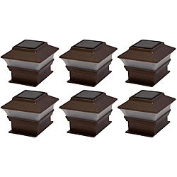 Tricod Plastic Copper Fence Mount Solar Lights (Set of 6)