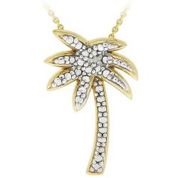 DB Designs 18k Gold over Sterling Silver Diamond Accent Palm Tree Necklace