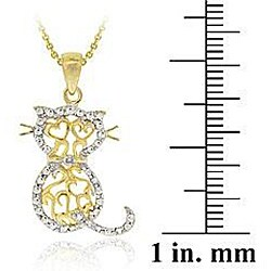 DB Designs 18k Gold over Sterling Silver Diamond Accent Filigree Cat Necklace
