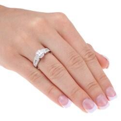 10k White Gold 1/2ct TDW Diamond Princess and Round-cut Engagement Ring (H-I, I1-I2)