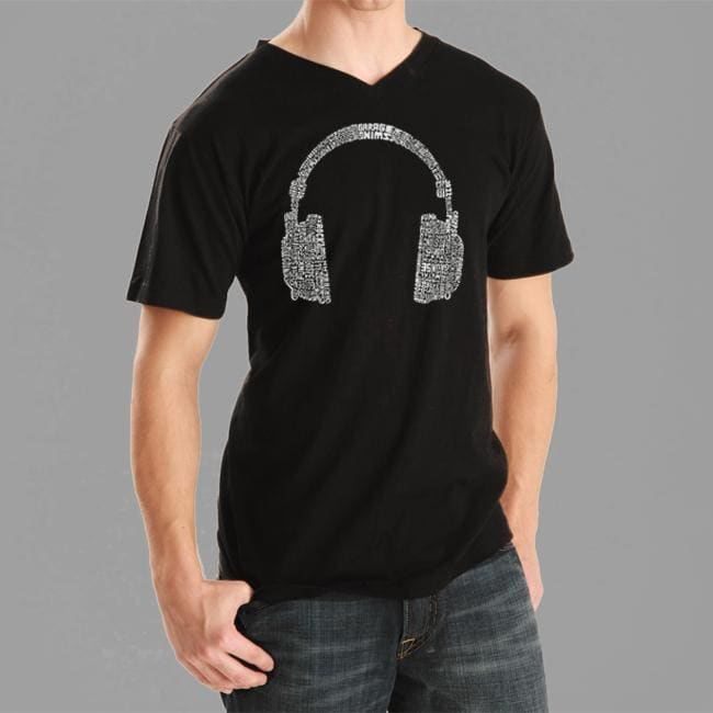 Los Angeles Pop Art Men's Headphones V-neck Tee