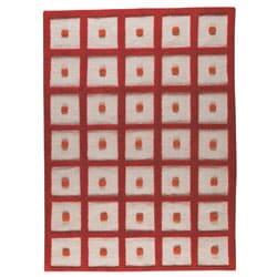 Hand-woven Fram Orange Wool Rug (4'6 x 6'6)
