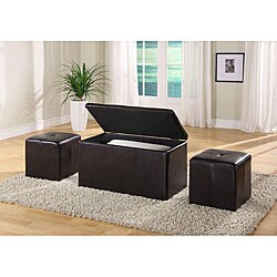 Synthetic Leather Chocolate Storage bench with 2 Ottomans