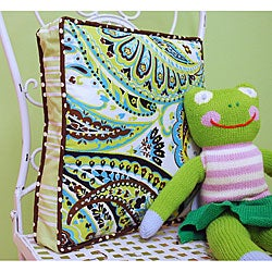 My Baby Sam Lime Paisley Splash Throw Pillow