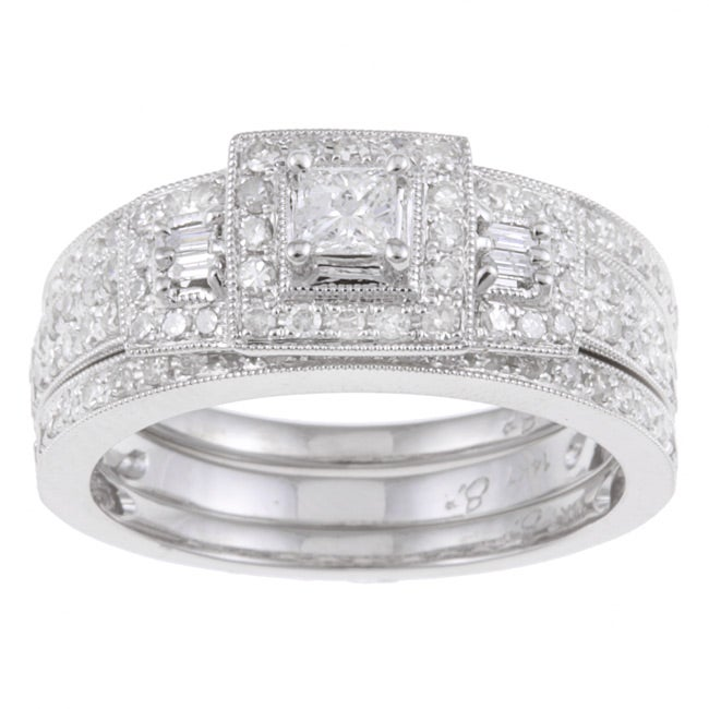 14k White Gold 7/8ct TDW Diamond Halo Bridal Ring Set (I-J, I2)