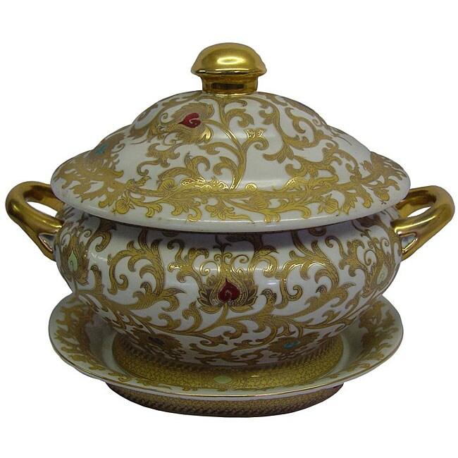 White/ Gold Scrolls Porcelain Tureen