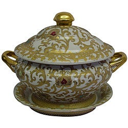 White/ Gold Scrolls Porcelain Tureen
