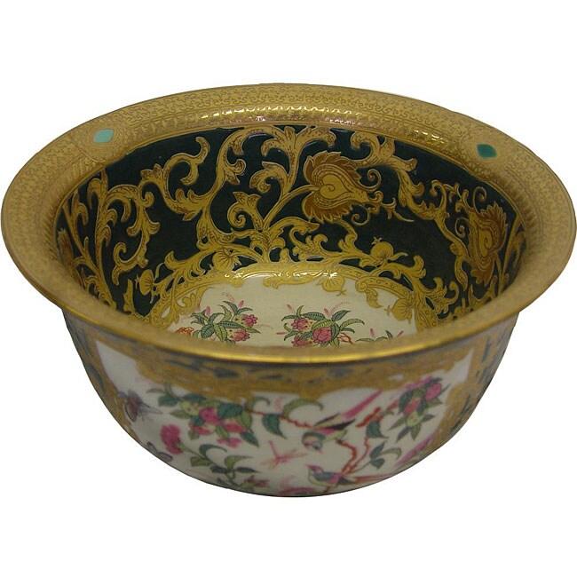 Green Medallion Scrolls Porcelain Bowl