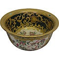 Green Medallion Scrolls Porcelain Bowl
