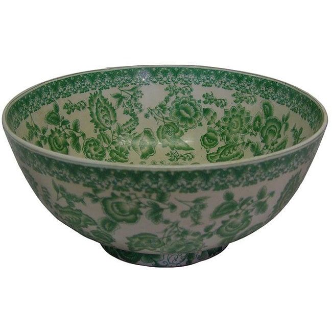 Porcelain Green Garland Floral Bowl