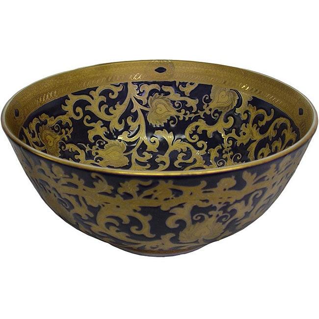 Porcelain Blue and Gold Bowl