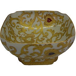 Porcelain White and Gold Square Bowl