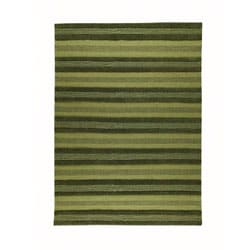 Hand-woven Gren Green Wool Rug (4'6 x 6'6)