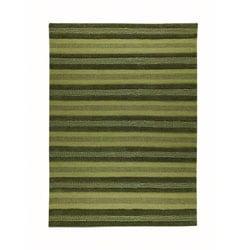 Hand-woven Gren Green Wool Rug (5'6 x 7'10)