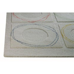 Hand-tufted Hels White Wool Rug (5'6 x 7'10)