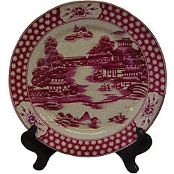 Pink Pagoda Round Porcelain Plate