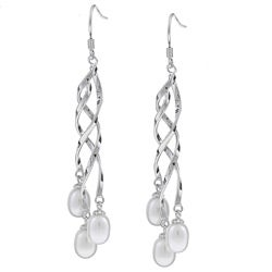 Kabella Sterling Silver Twist White Freshwater Pearl Earrings (6-7 mm)