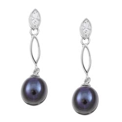 Kabella Sterling Silver Cubic Zirconia and Black Freshwater Pearl Earrings