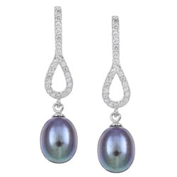 Kabella Sterling Silver Black FW Pearl and Cubic Zirconia Earrings (8-9 mm)