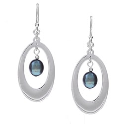 Kabella Sterling Silver Black Freshwater Pearl Earrings (7-8 mm)