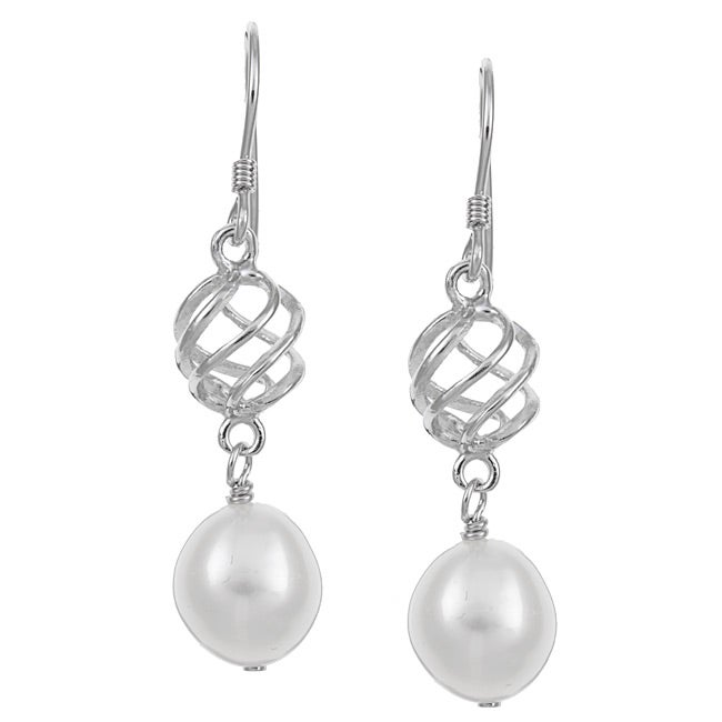 Kabella Sterling Silver White Freshwater Pearl Dangle Earrings (9-9.5 mm)
