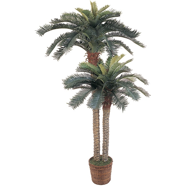 Double Potted Sago Palm Silk Tree (Pack of 2)
