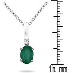10k White Gold Emerald and Diamond Pendant (I-J, I1-I2)