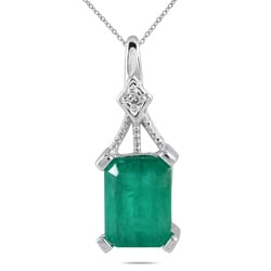 14k White Gold Emerald and Diamond Accent Pendant