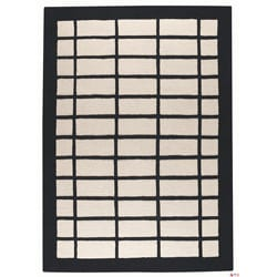 Hand-tufted Newy Natural Border Wool Rug (5'6 x 7'10)