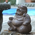 Volcanic Ash Happy Buddha Statue Stone Washed (Indonesia)