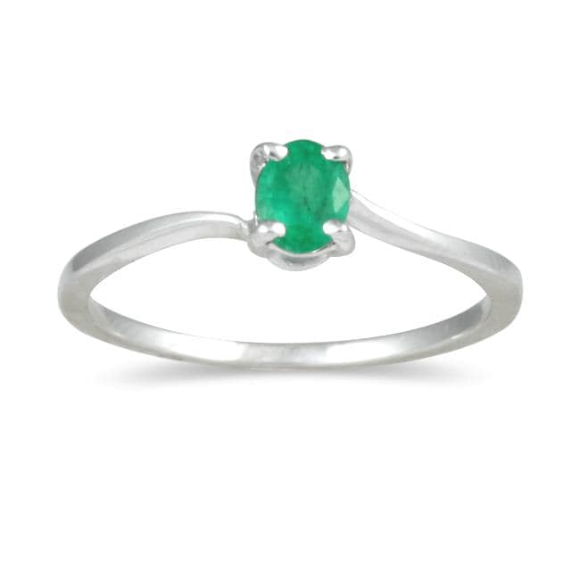 Marquee Jewels 10K White Gold Green Emerald Ring