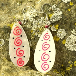 Red Mother of Pearl Earrings (Philippines)