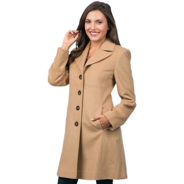 Larry Levine Women's Notch Collar Classic Wool Coat