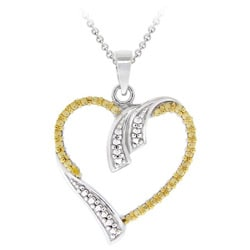 DB Designs Sterling Silver Yellow Diamond Accent Open Heart Necklace