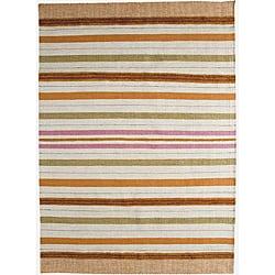 Hand-woven Pana Orange Stripe Wool Rug (3' x 5'4)