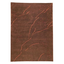 Hand-knotted Indotibetan Path Abstract Brown Rug (4'6 x 6'6')