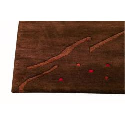 Hand-knotted Indotibetan Path Abstract Brown Rug (5'6 x 7'10)