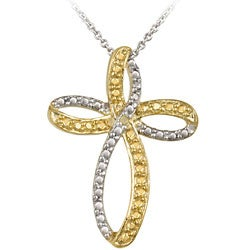 DB Designs Two-tone Sterling Silver Yellow Diamond Accent Cross Necklace