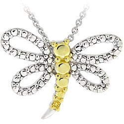 DB Designs Two-tone Sterling Silver Yellow Diamond Accent Dragonfly Necklace