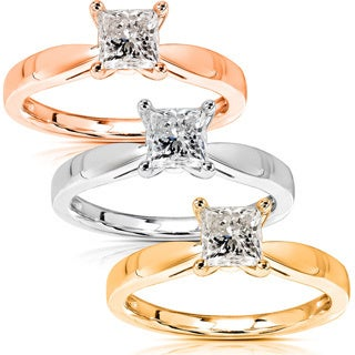 Annello 14k Gold 1/2ct TDW Diamond Solitaire Engagement Ring (H-I, I1-I2)