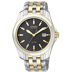 Citizen Men's Eco-Drive Black-Dial Stainless-Steel Two-Tone Watch