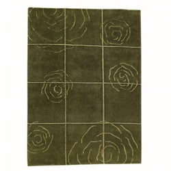 Hand-knotted Green Floral Wool Rug (8'3 x 11'6)