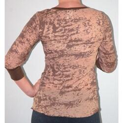 Women's 3/4-sleeve Brown Burnout Thermal