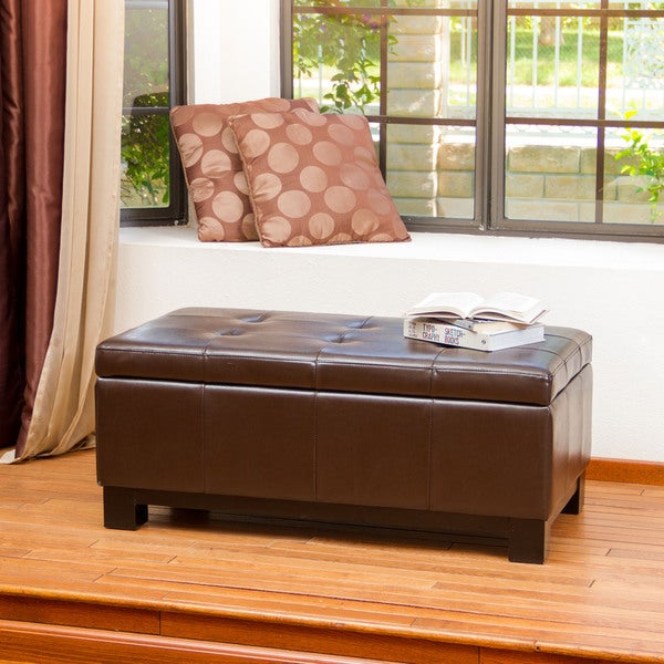 Bonded Leather Storage Ottoman with Tufted Top