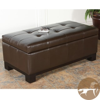 Christopher Knight Home Bonded Leather Storage Ottoman with Tufted Top